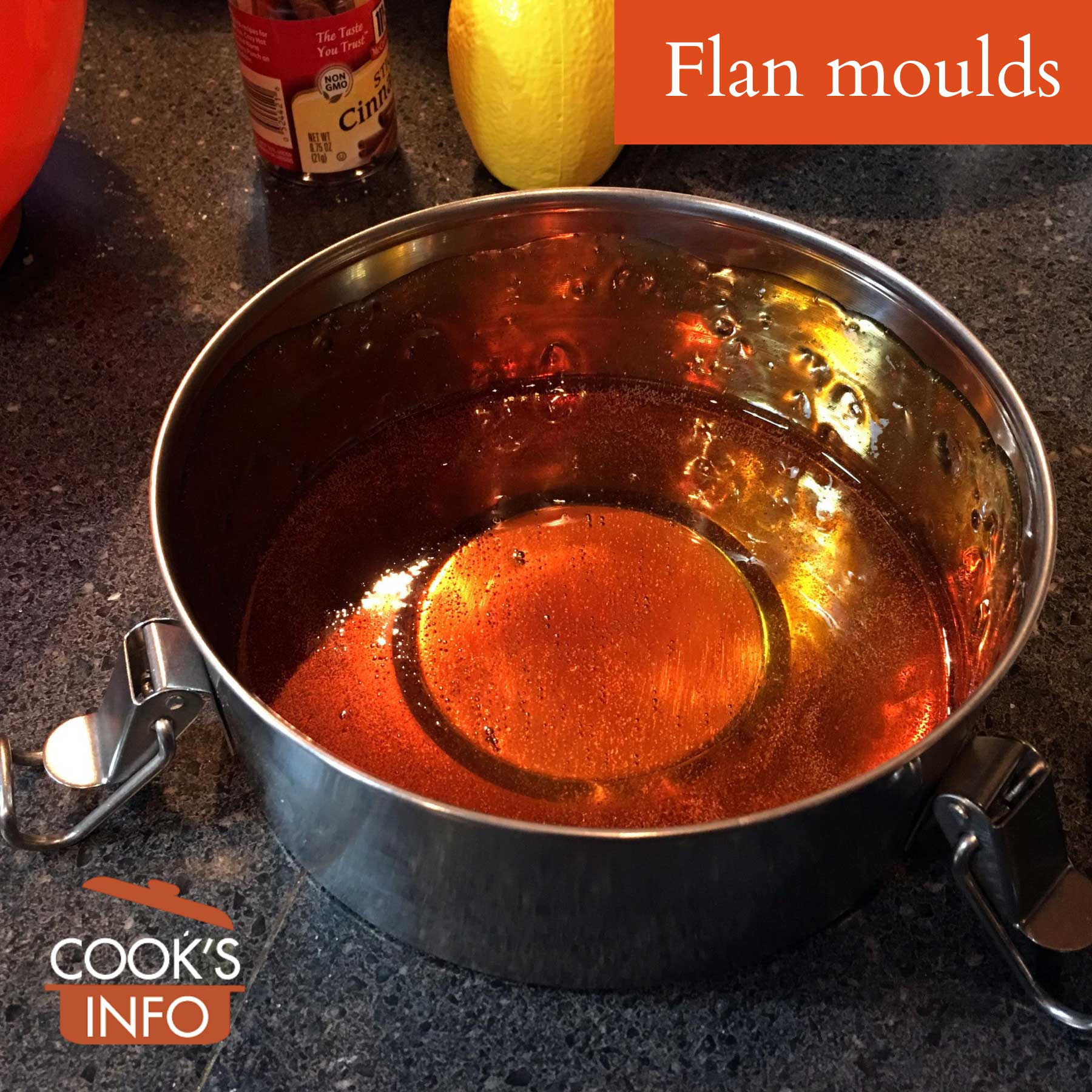 Syrup in flan mould, ready for custard mixture.