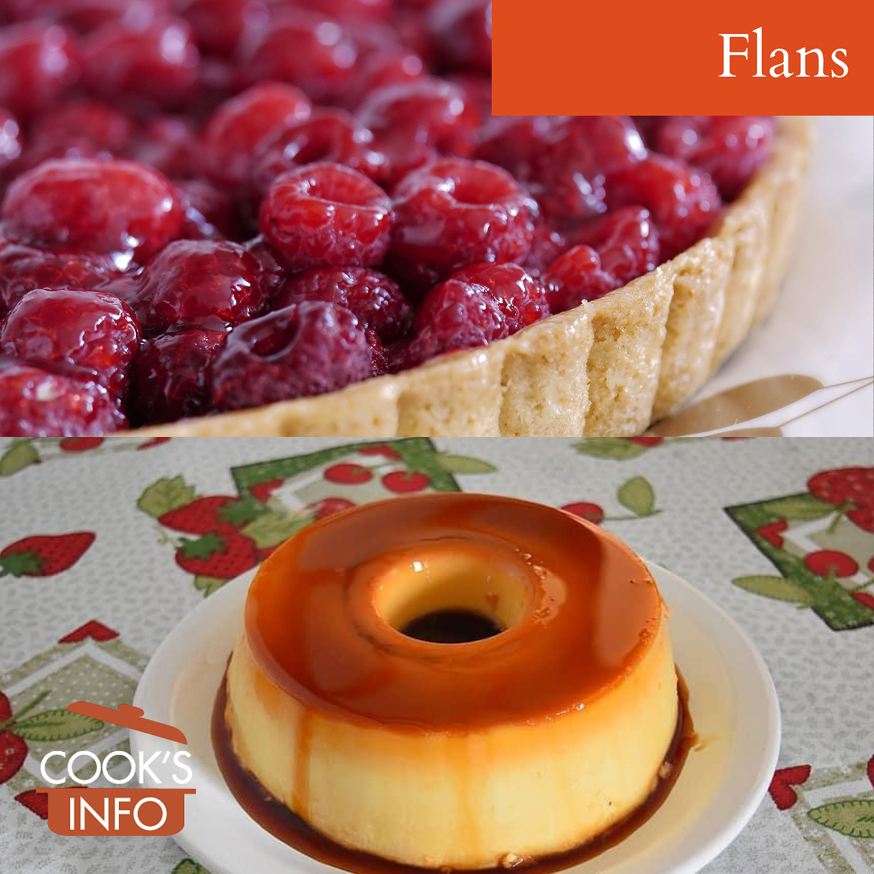 Raspberry flan and custard flan
