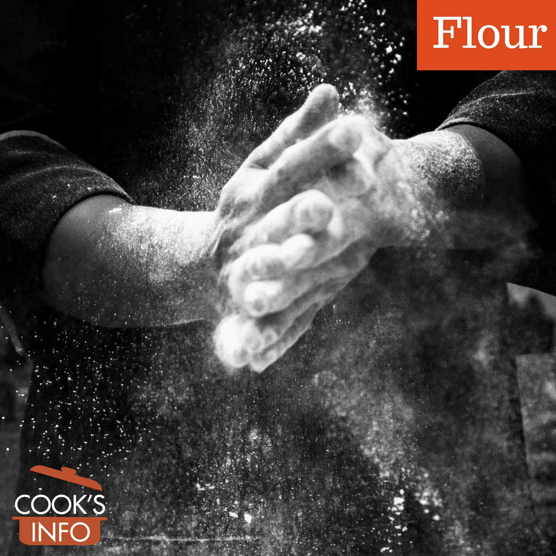 Hands with flour in air