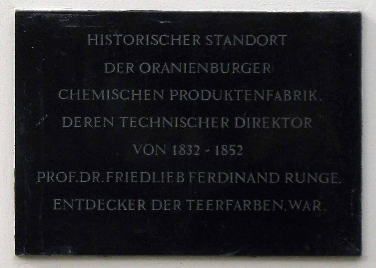Plaque for Friedlieb Ferdinand Runge in Oranienburg