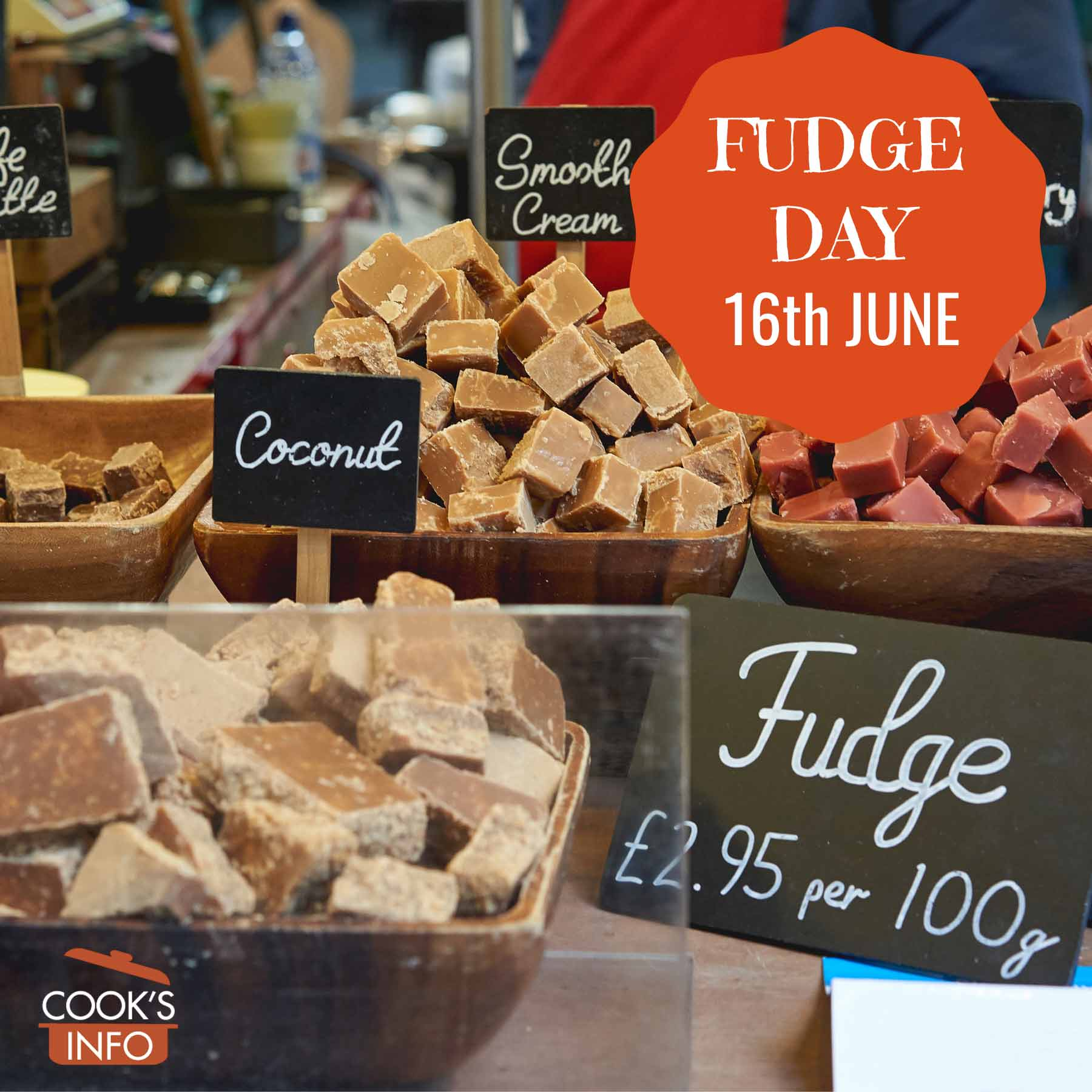 Various flavours of fudge on sale in a stall at Borough Market, London, England