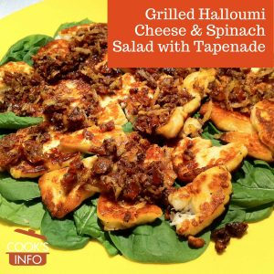 Grilled Halloumi Cheese & Spinach Salad with Tapenade