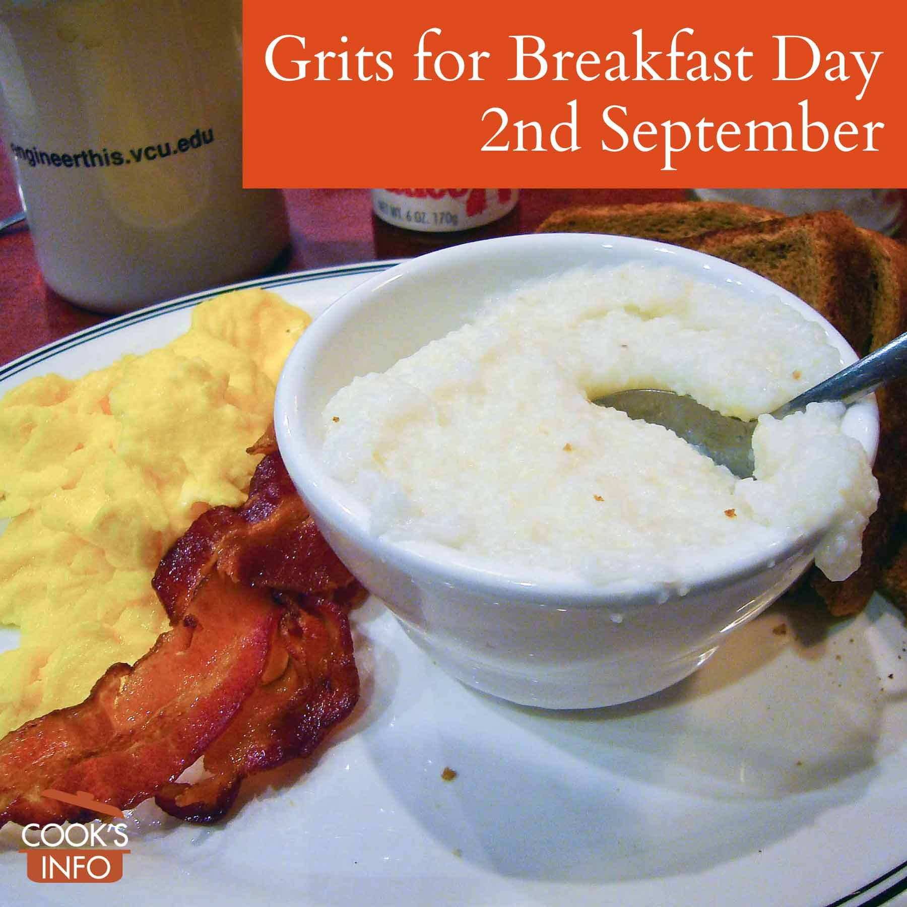 A typical southern breakfast served at a restaurant in Richmond Virginia. Grits, eggs, bacon and toast