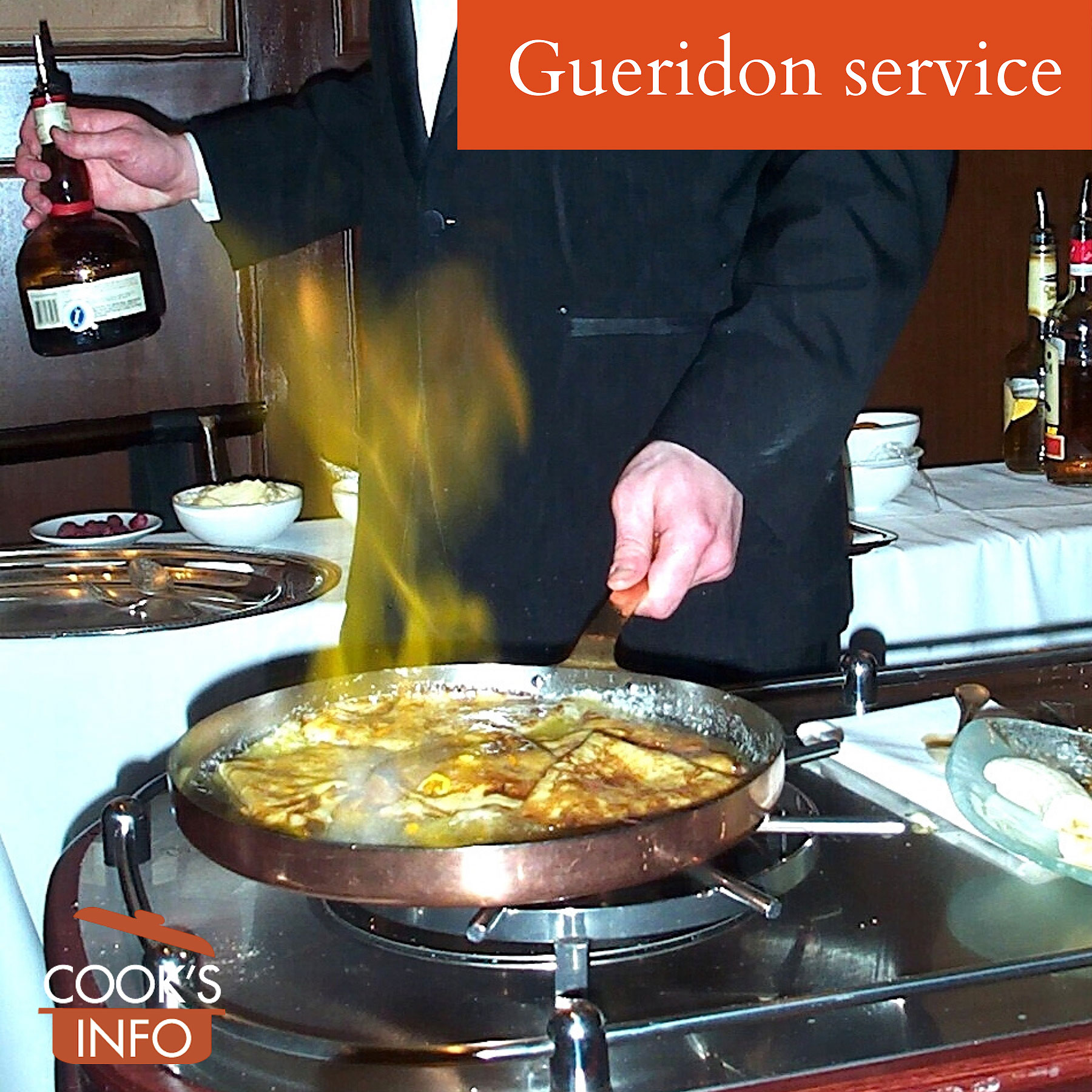 Gueridon service, food item being flambeed