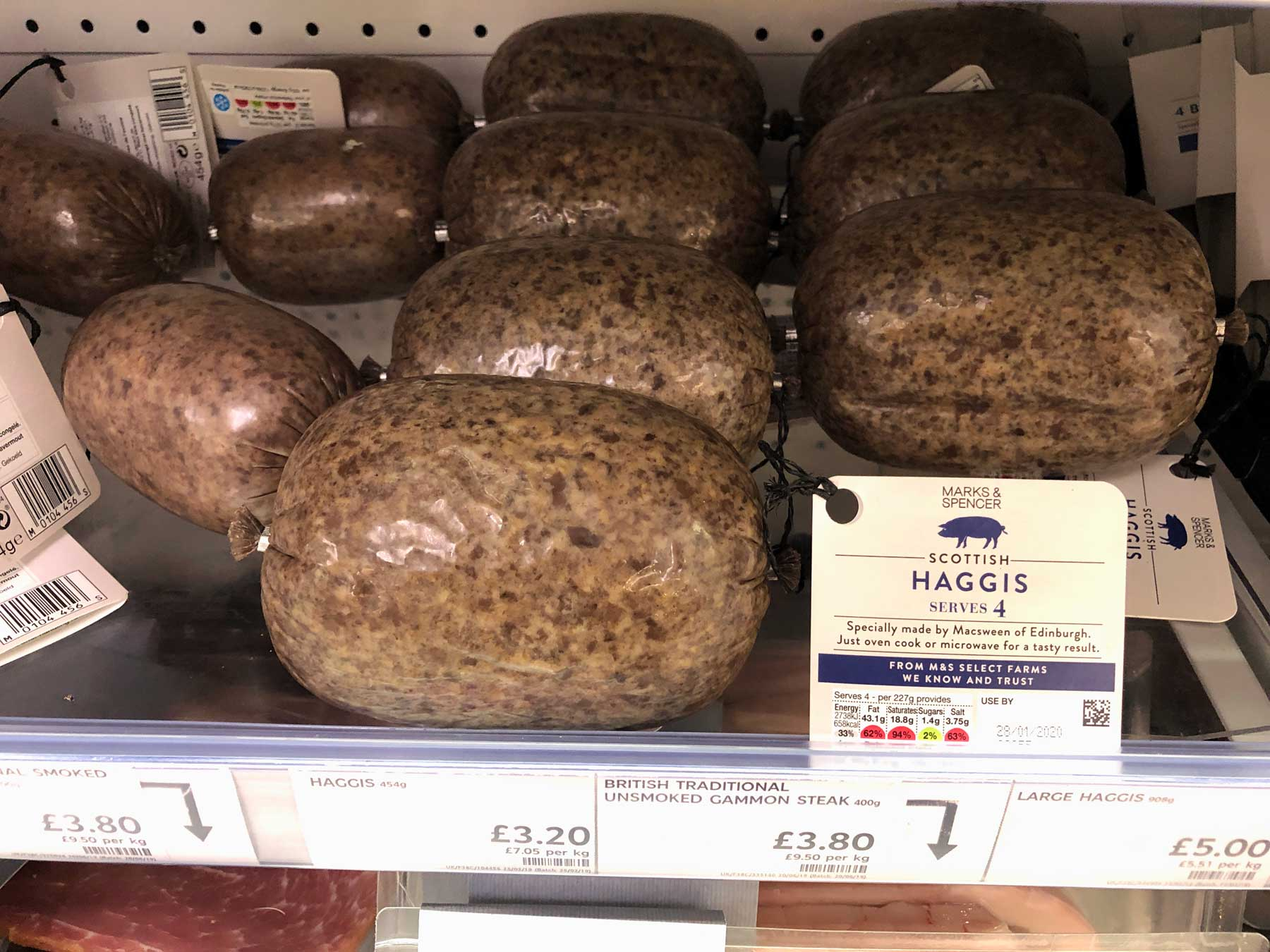Fresh haggis in assorted sizes at Marks and Spencers