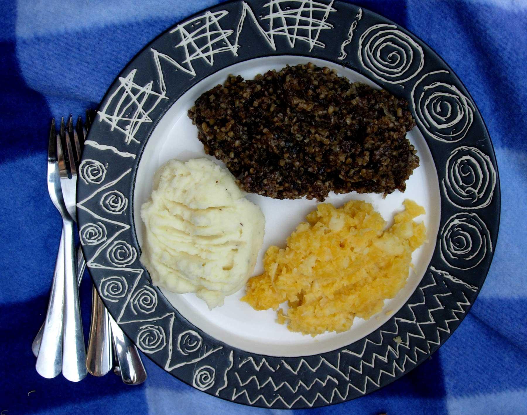 A typical haggis plate: Haggis, mashed potato, mashed turnip