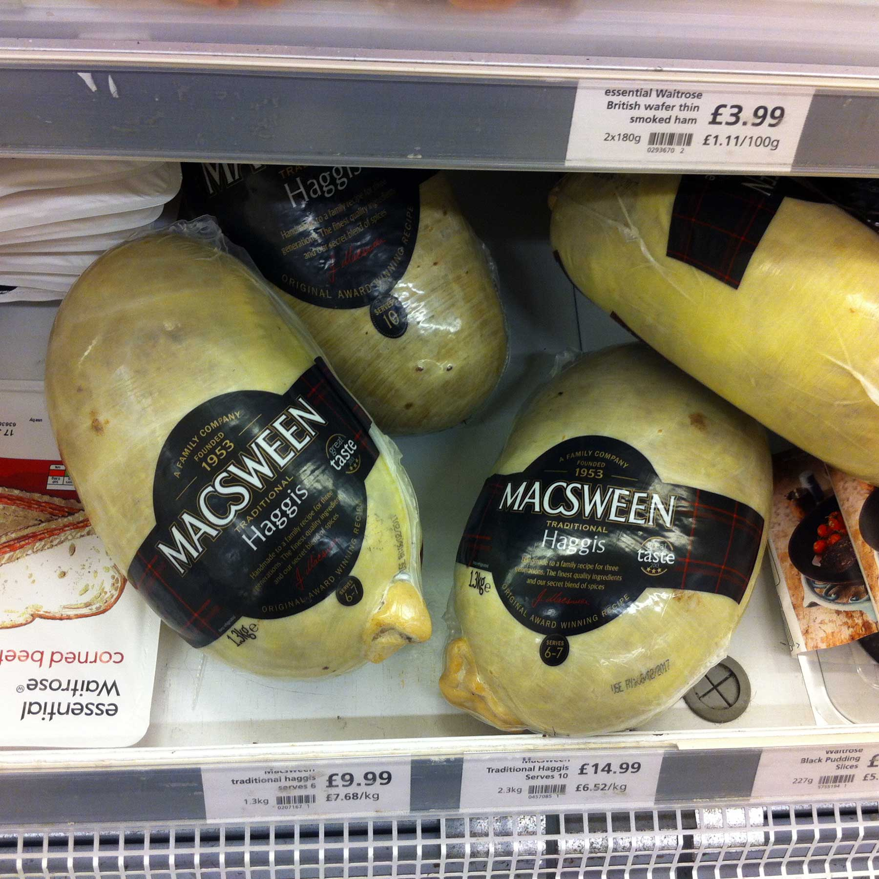 Frozen haggis at Waitrose