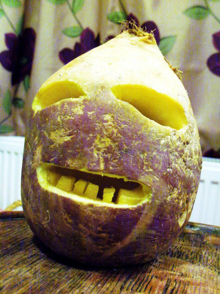 Cornish turnip jack-o-lantern