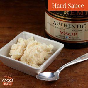 Hard sauce with brandy bottle