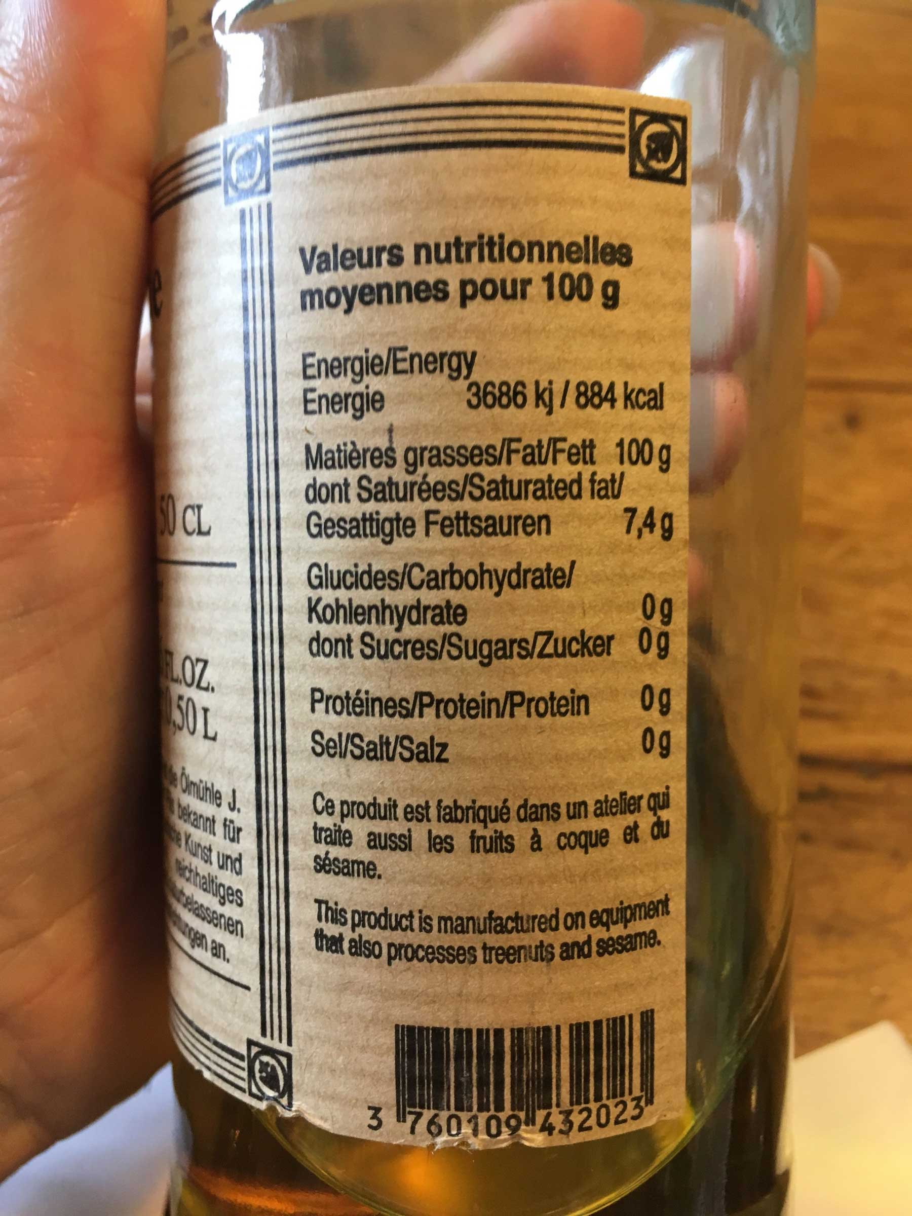 rench olive oil, J. Leblanc brand. Nutrition label