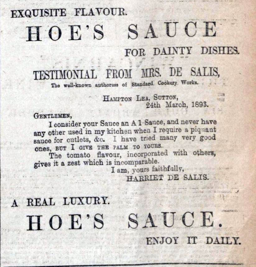 Mrs de Salis Hoe Sauce Endorsement