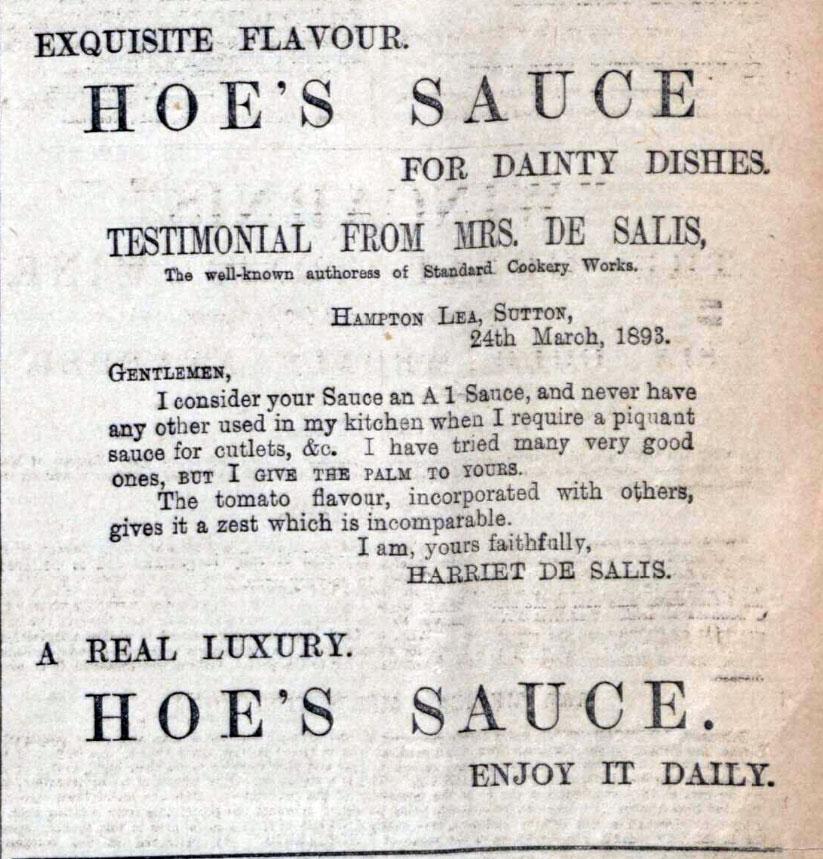 Mrs de Salis Hoe Sauce Endorsement