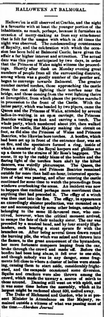 Hallowe'en at Balmoral Castle, Scotland, with Queen Victoria in 1877