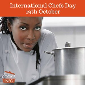 Female chef with pots