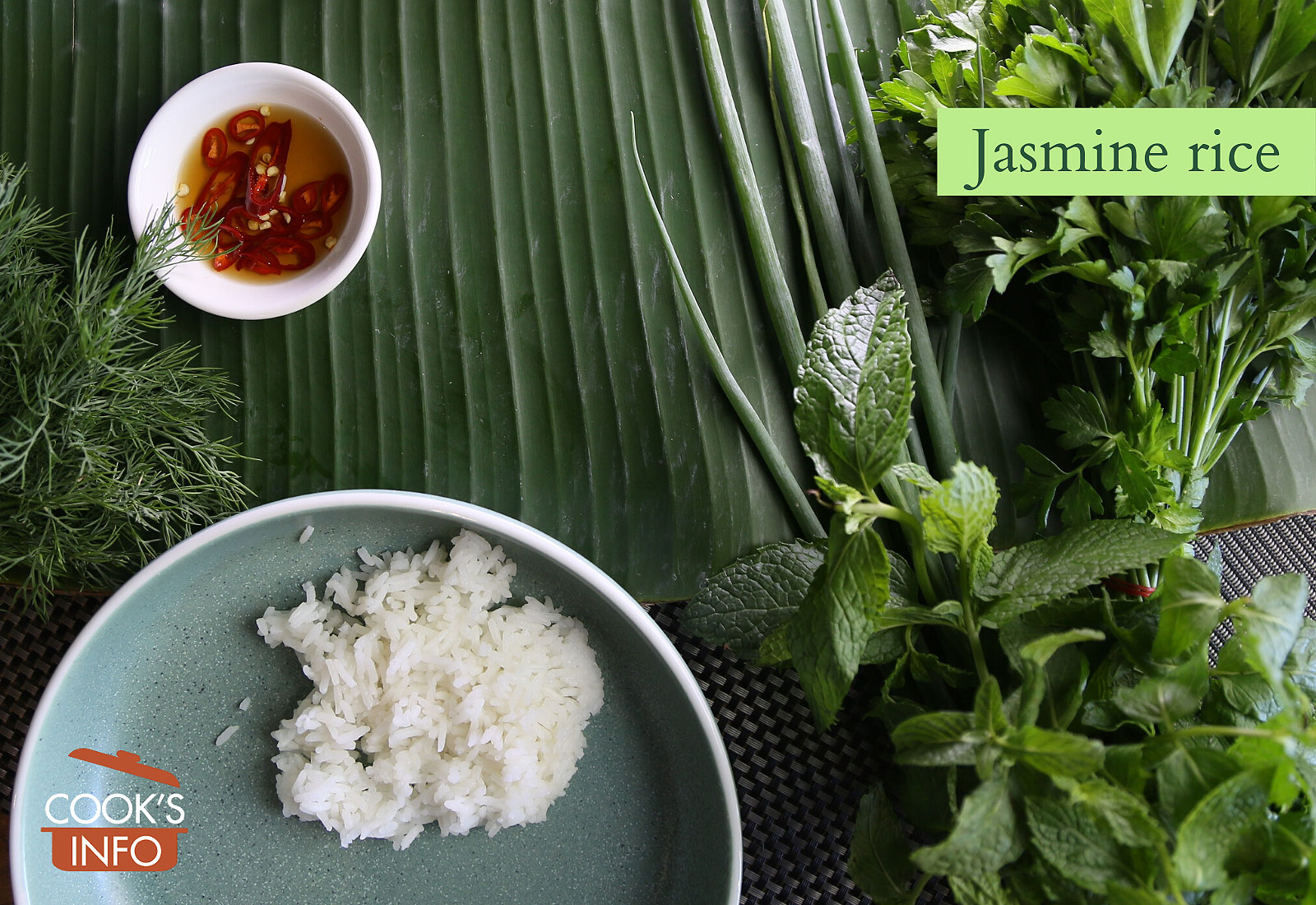A serving of cooked jasmine rice