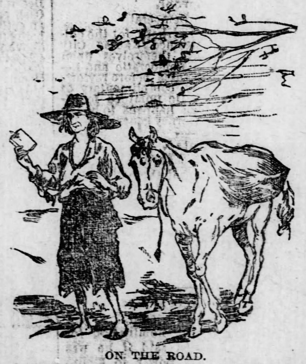Johnny Appleseed with horse. Pencil drawing.