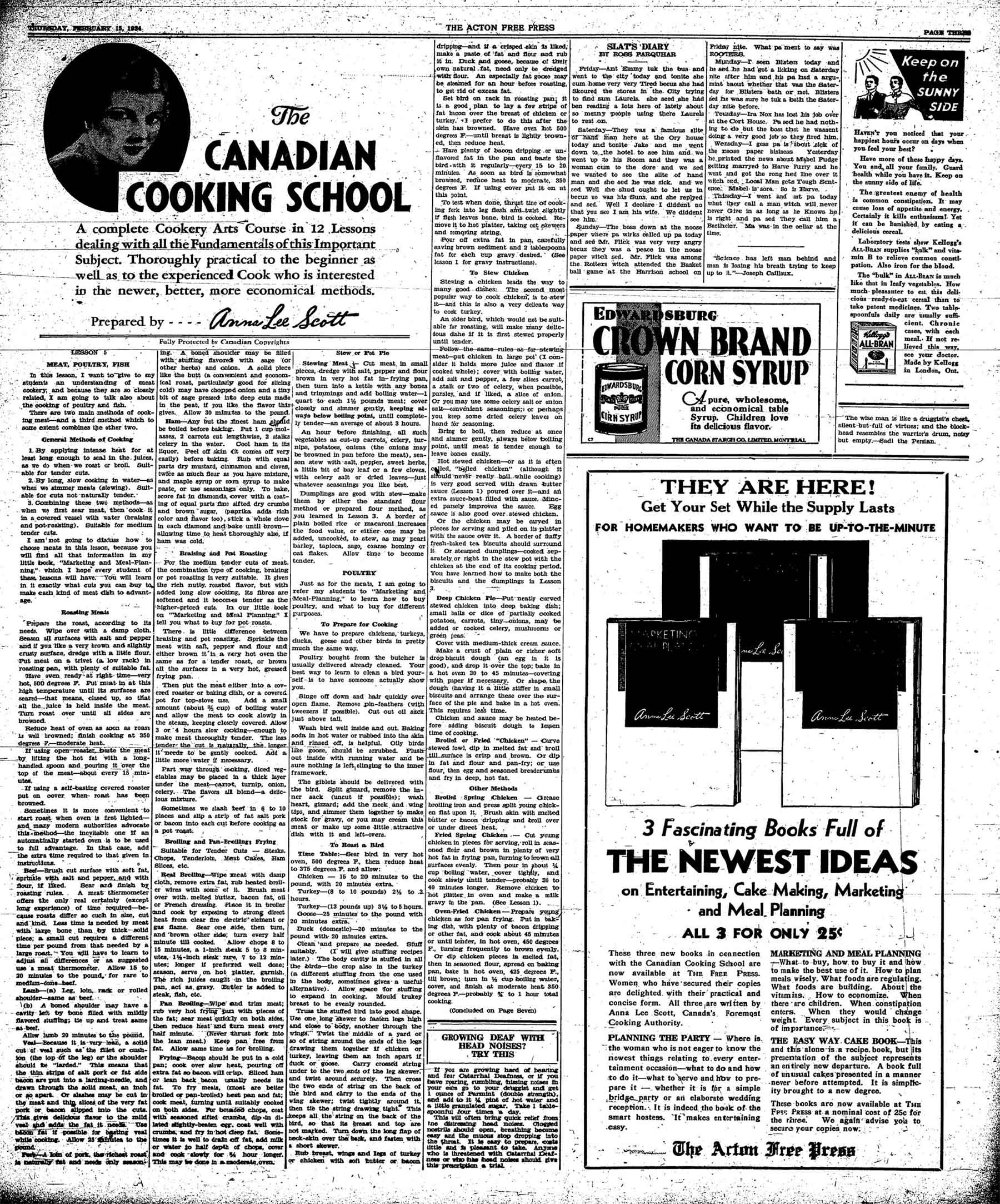 The Canadian Cooking School. Acton, Ontario: Acton Free Press. Thursday, 15 February 1934. Page 3, col. 1.