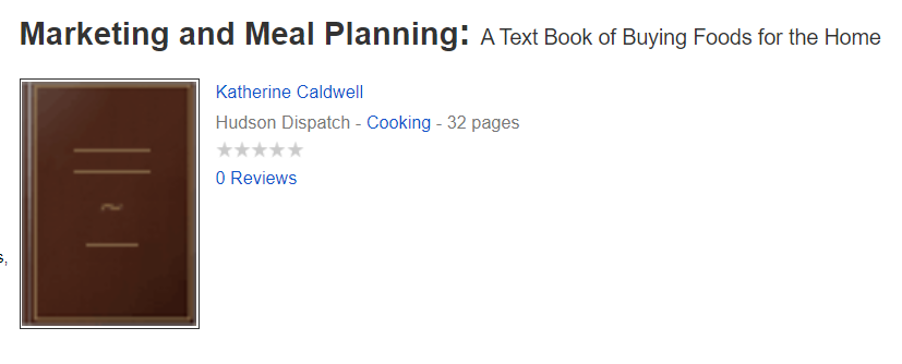 Marketing and Meal Planning Katherine Caldwell Bayley