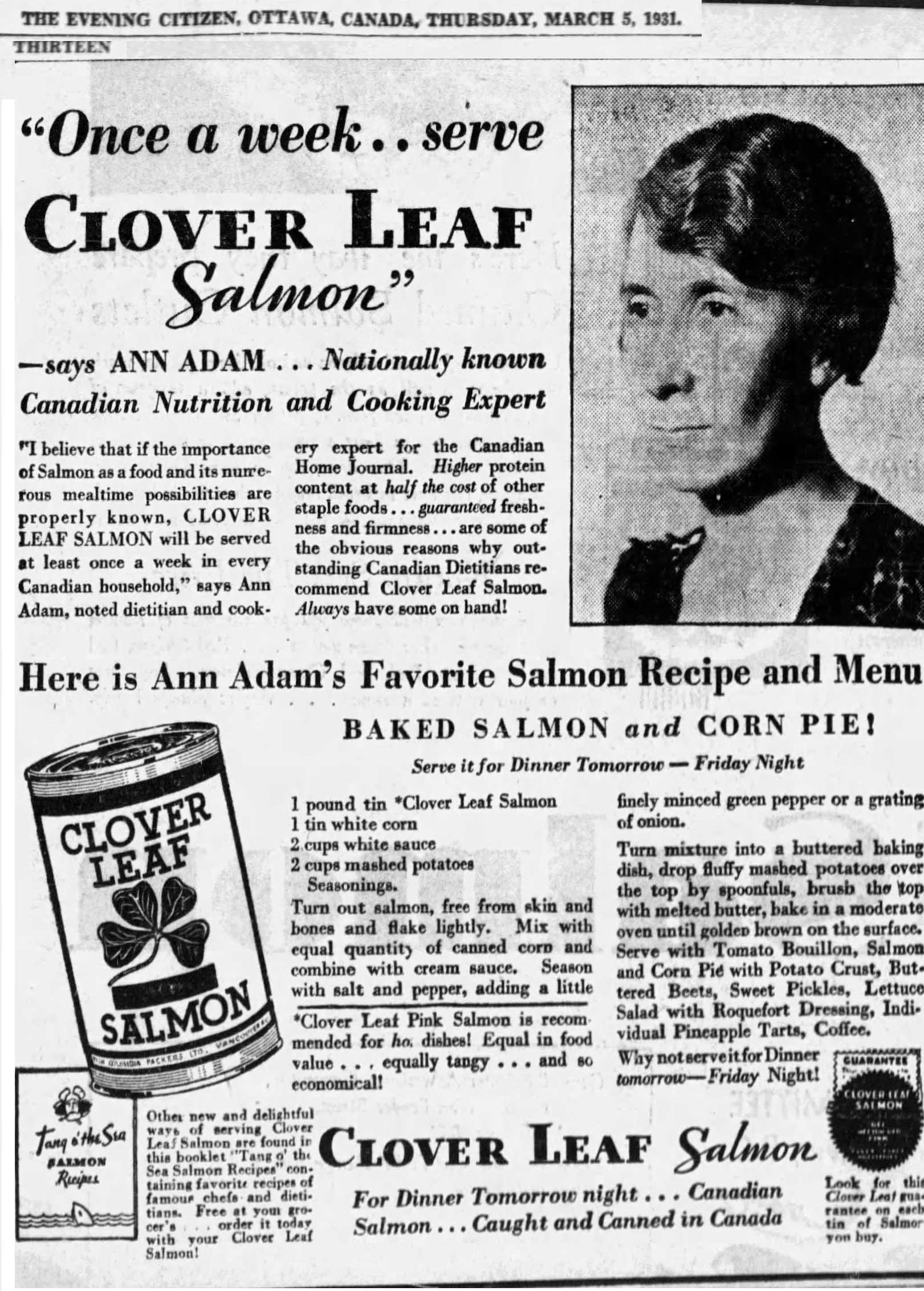 A 1931 product endorsement under the name Ann Adam