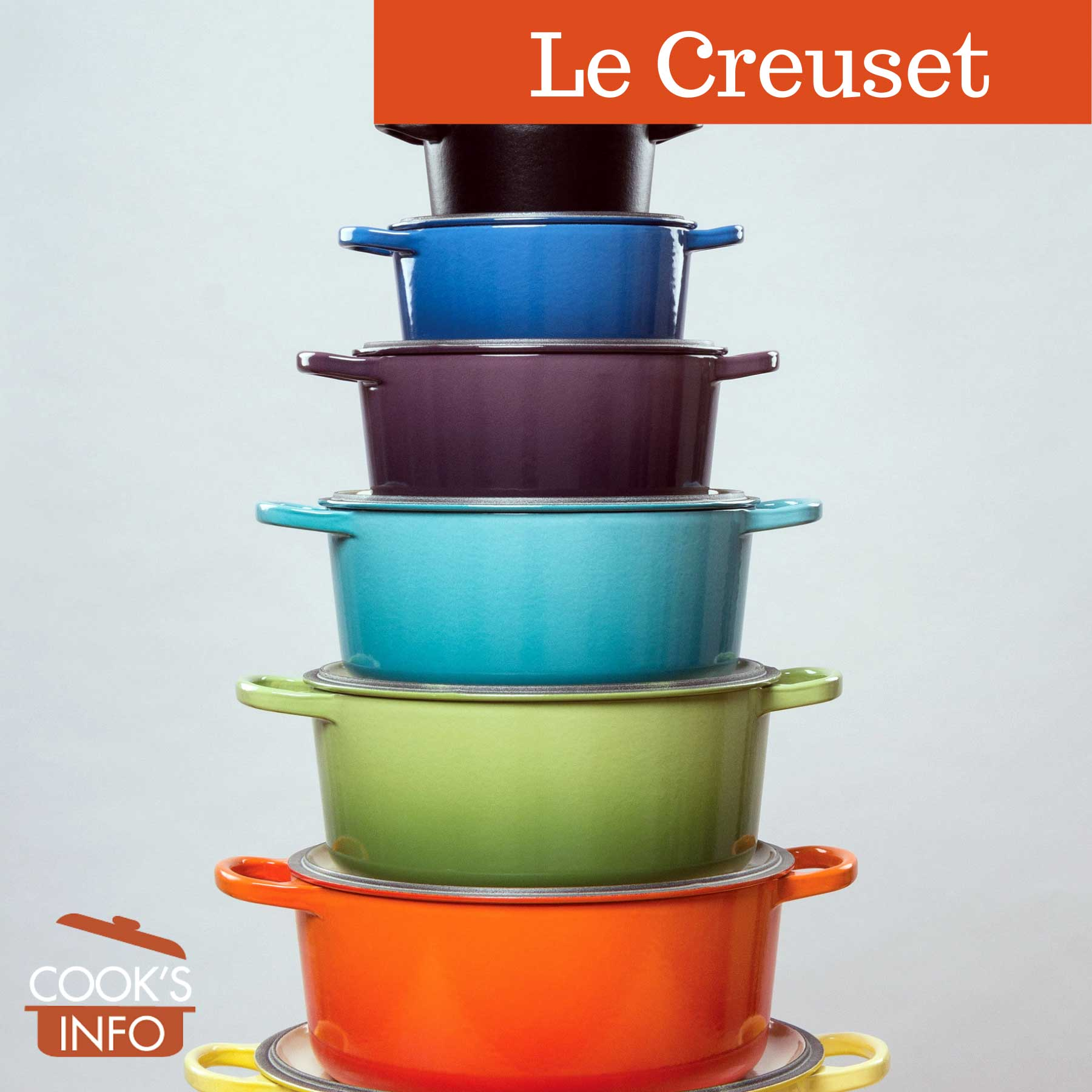 Stack of le creuset casseroles