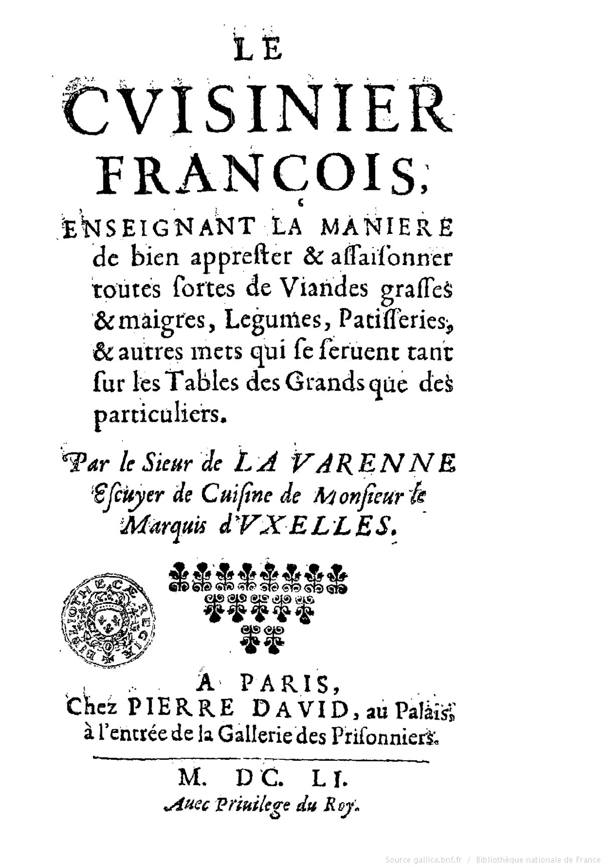 Le cuisinier francois. First page.