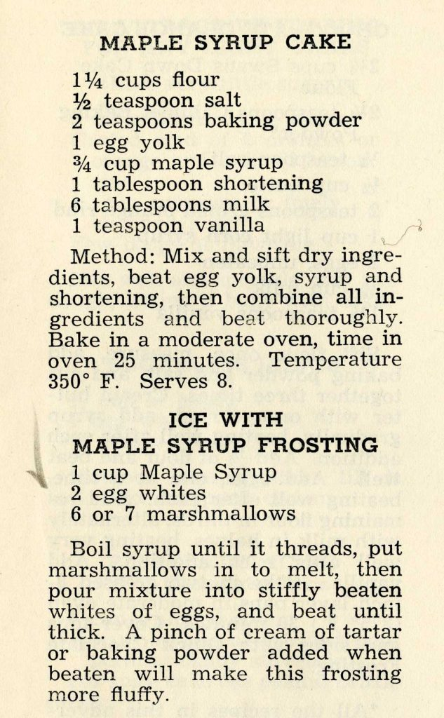Maple syrup cake recipe
