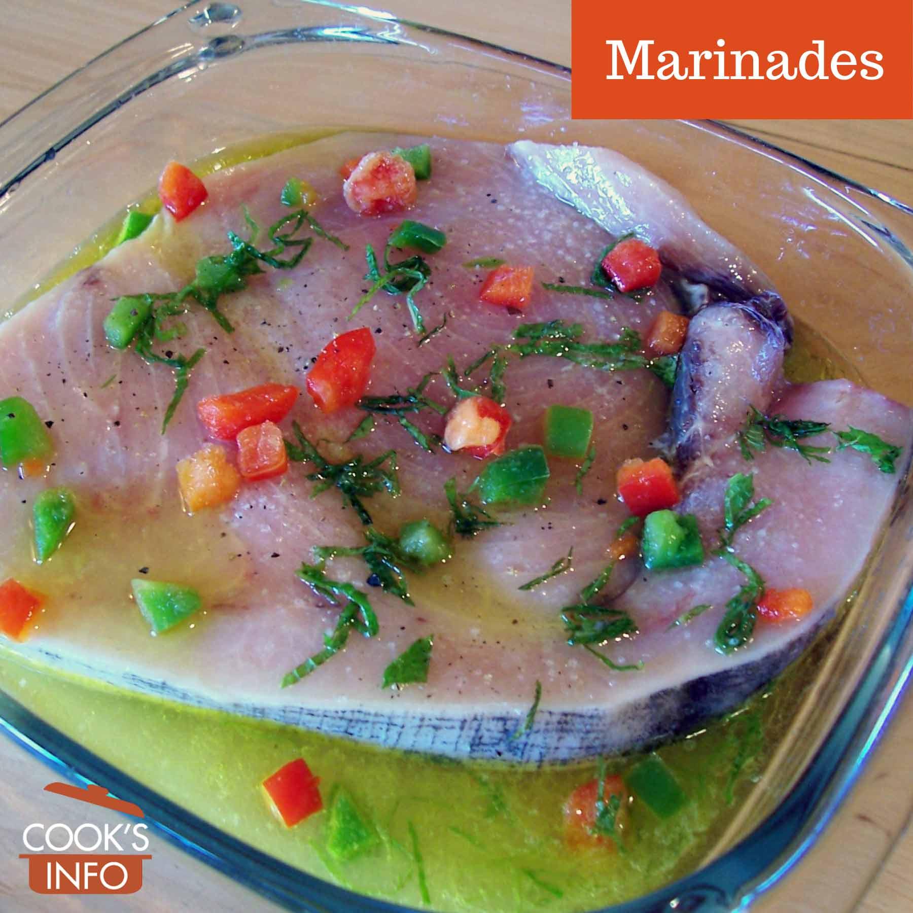Swordfish steak in marinade