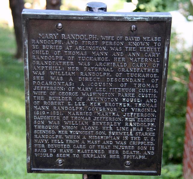 Mary Randolph grave marker