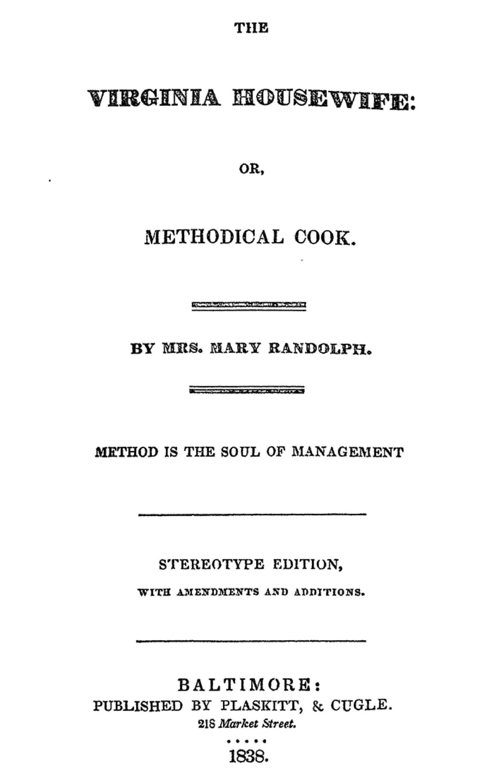 The Virginia Housewife, title page
