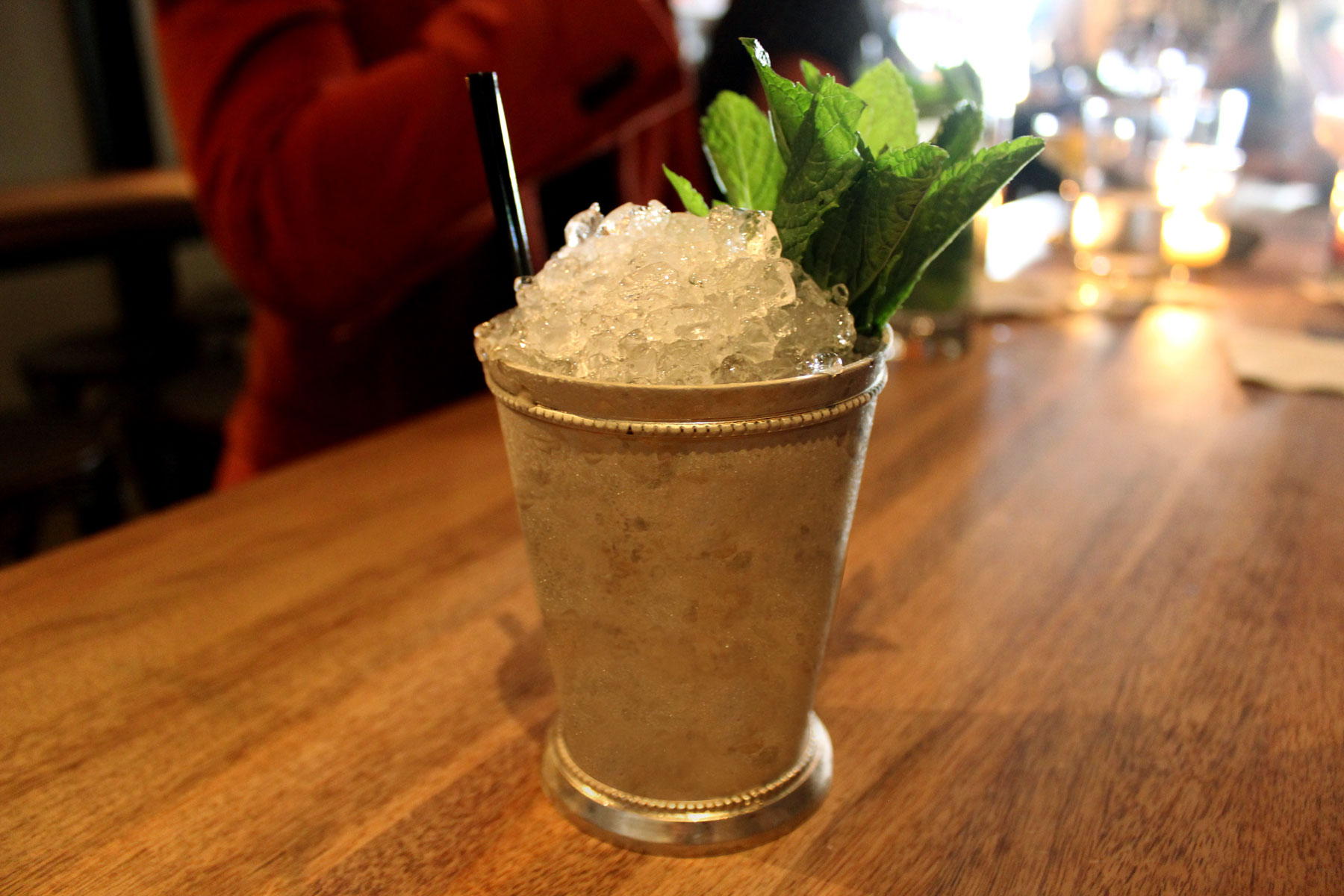 Mint julep in a pewter cup