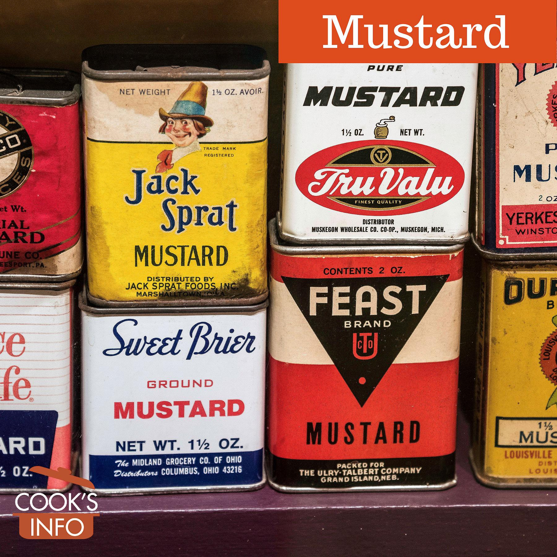 Vintage tins of mustard