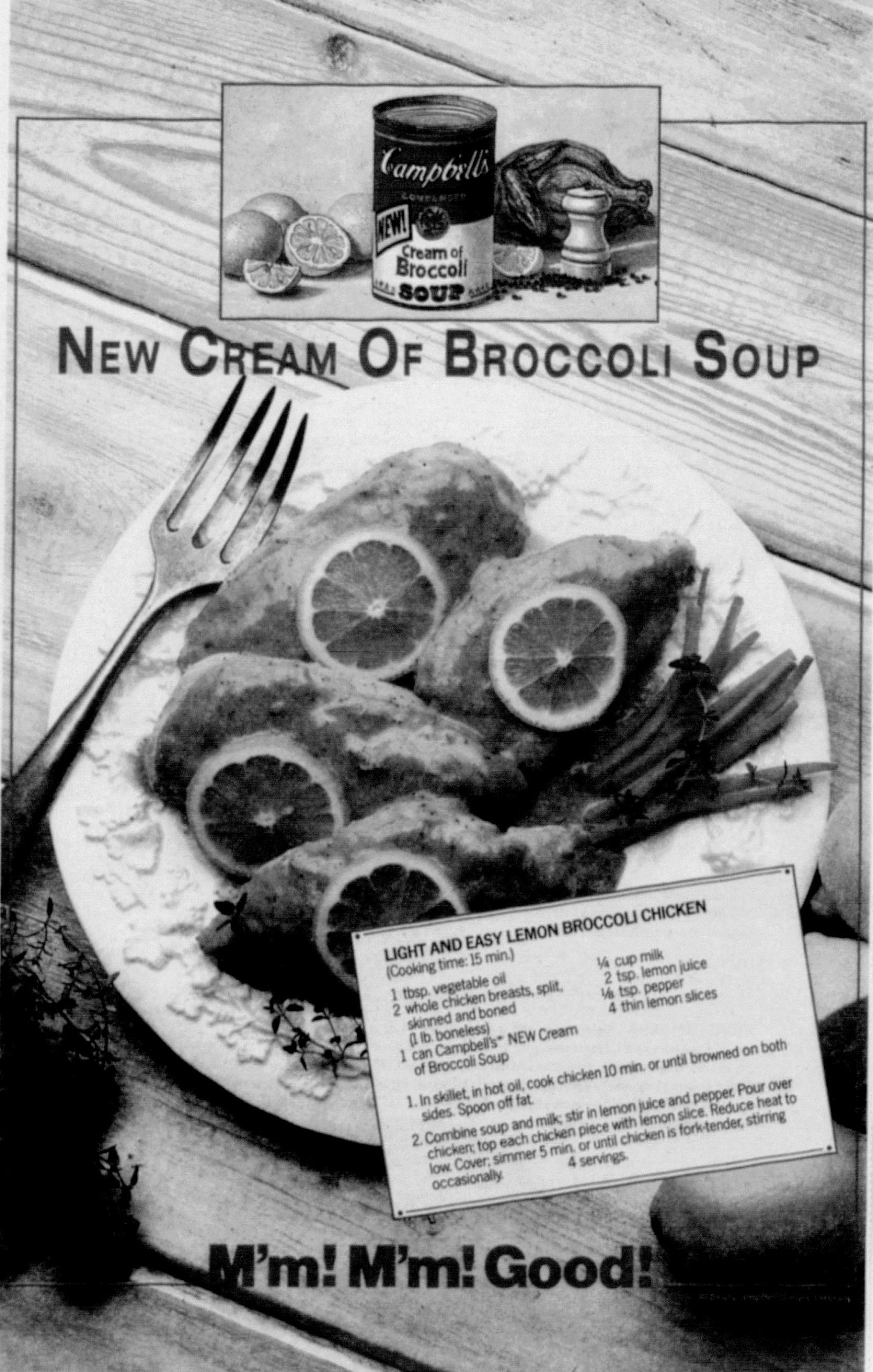 November 1990 advertisement cream of broccoli soup