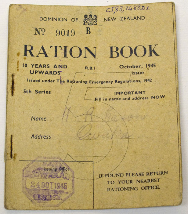 New Zealand Rations Book 1945
