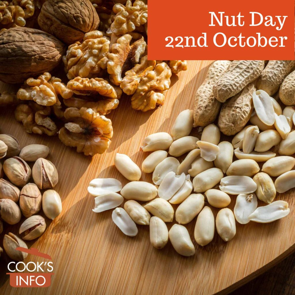 Mixed nuts on wooden board
