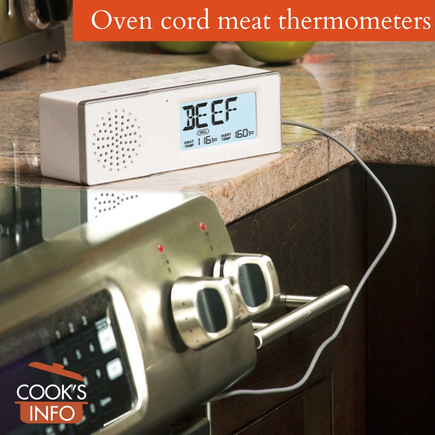 Oven cord meat thermometer