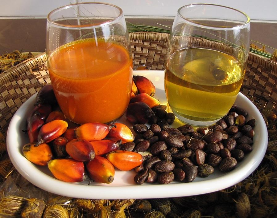 Palm oil reddish vs palm kernel oil, clear.