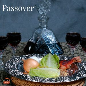 Passover plate with wine glasses