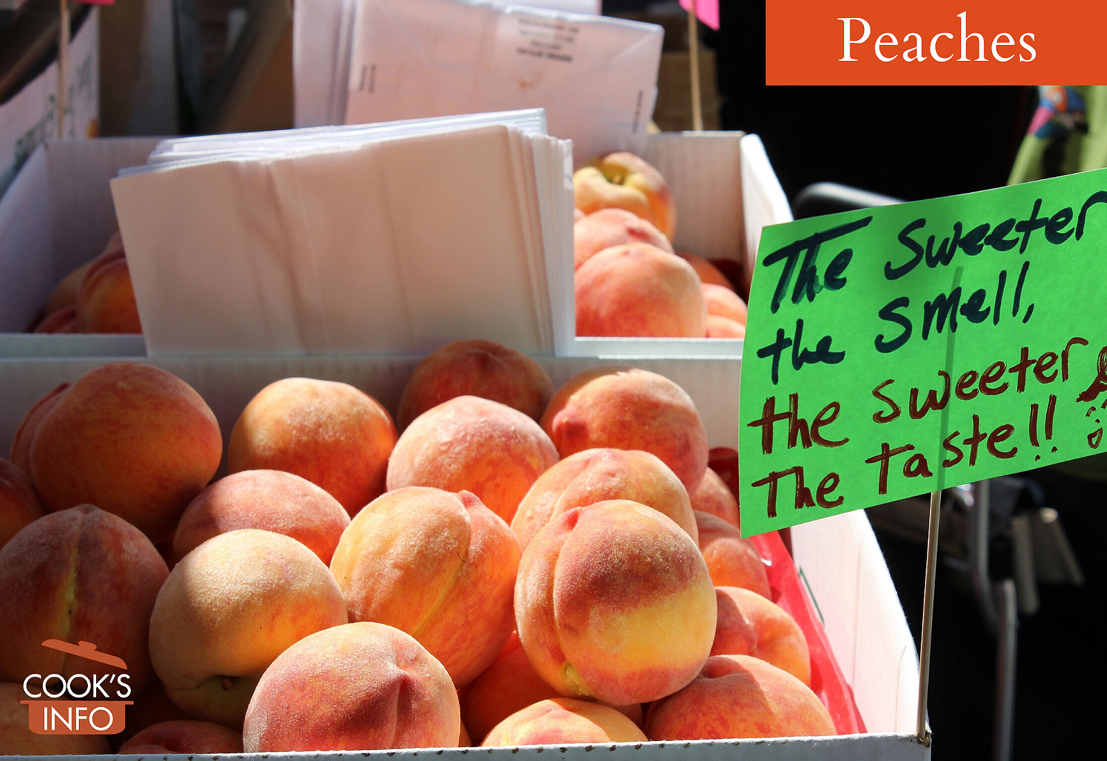 Peaches in box with sweet sign