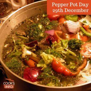 Pepper pot soup in a pot