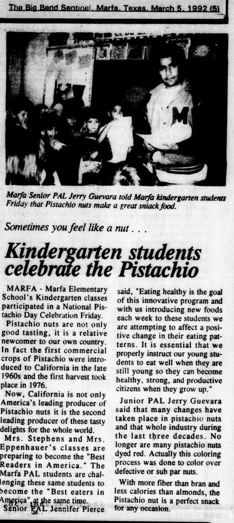 Kindergarten Students Celebrate The Pistachio
