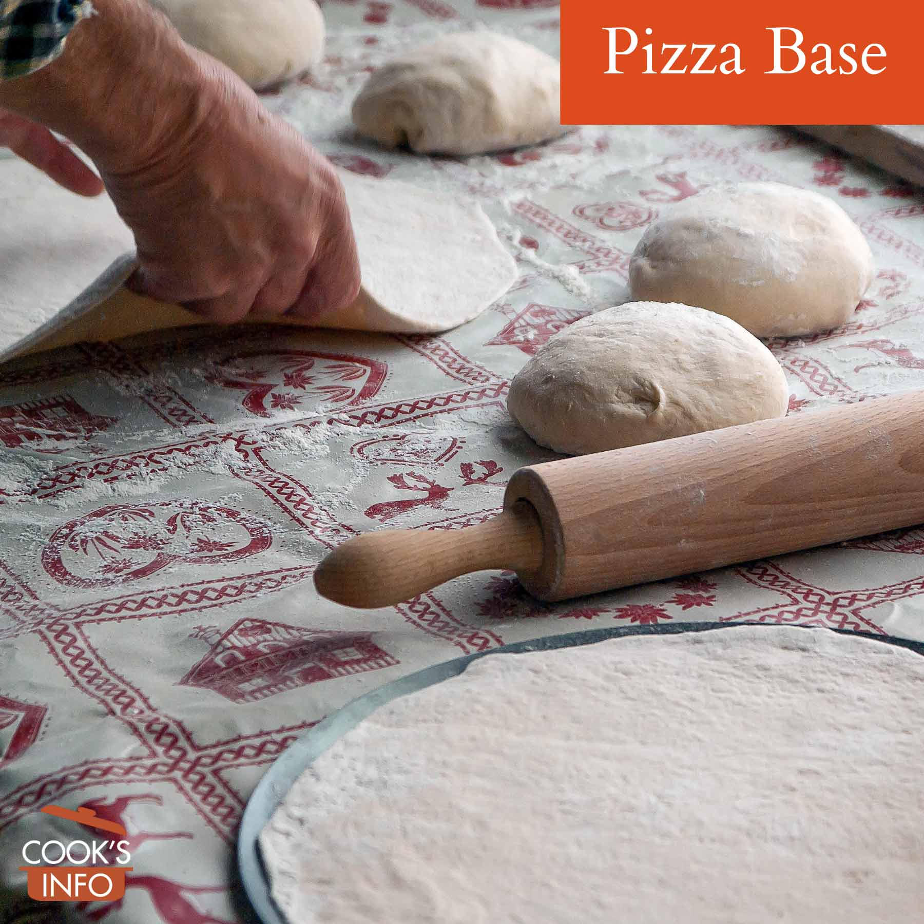 Pizza base from rolled-out dough