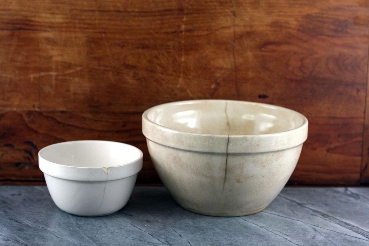 Cracked pudding bowls.