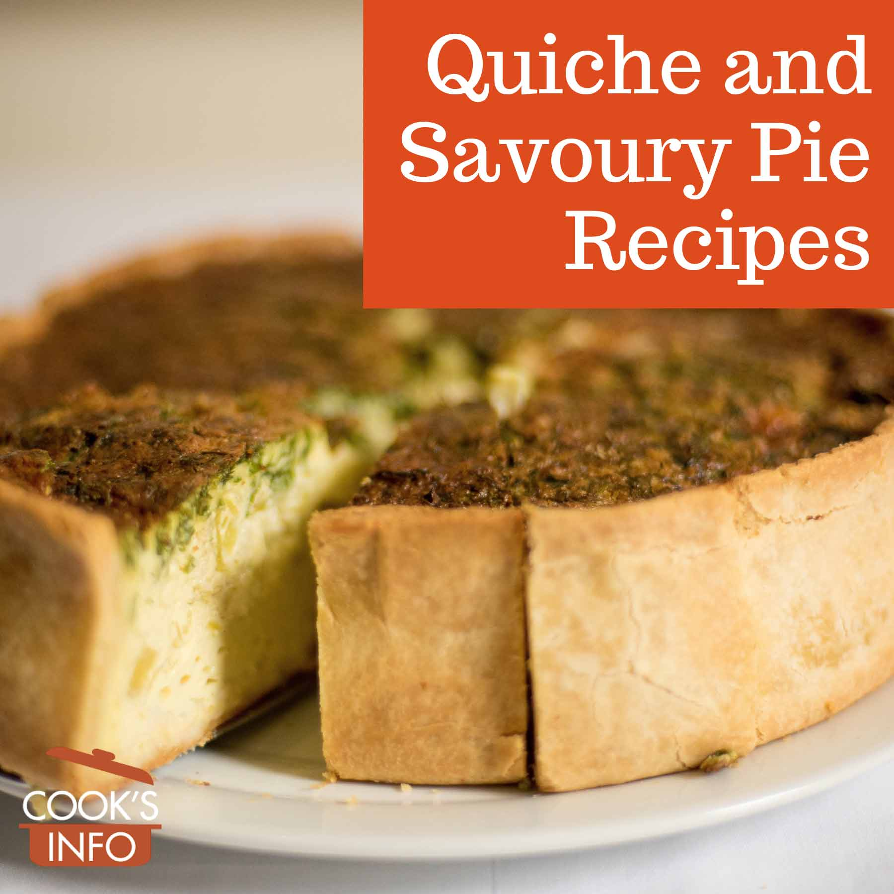 Deep dish quiche with a slice cut