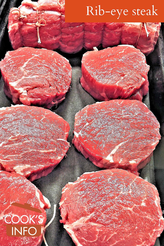 Rib-eye steaks, raw.