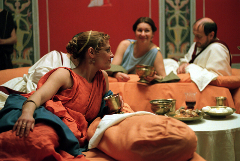 Reenactment of Roman dining in triclinium
