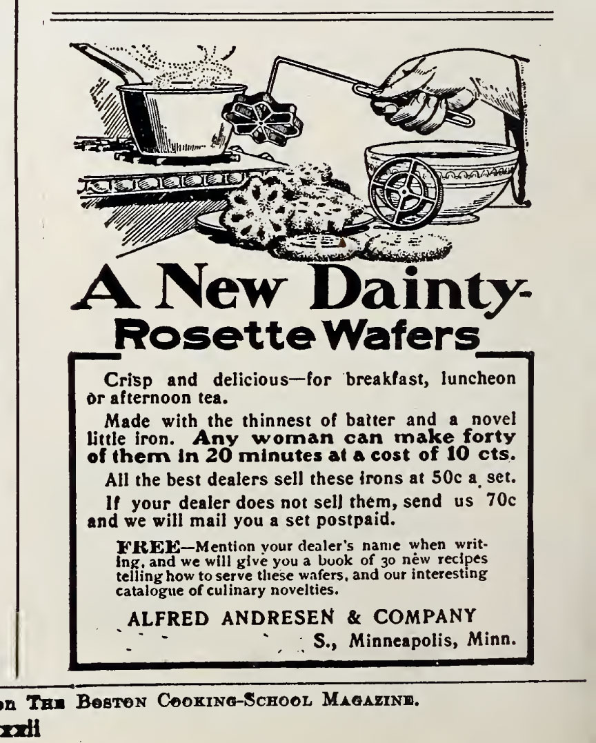 Advertisement for rosette irons 1906