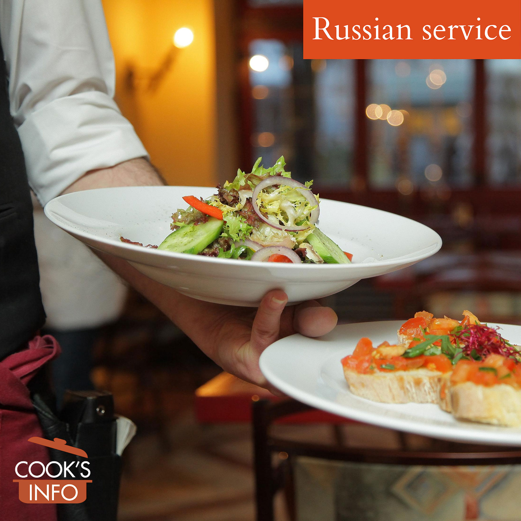 Russian service. Waiter serving already plated food