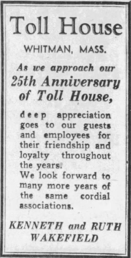 25th Anniversary of Toll House Inn