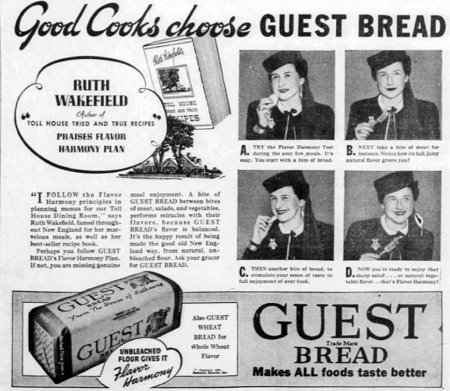 Ruth Wakefield promoting Harmony brand bread
