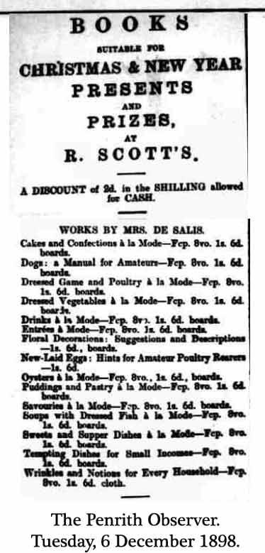 Mrs Salis Books for Christmas 1898